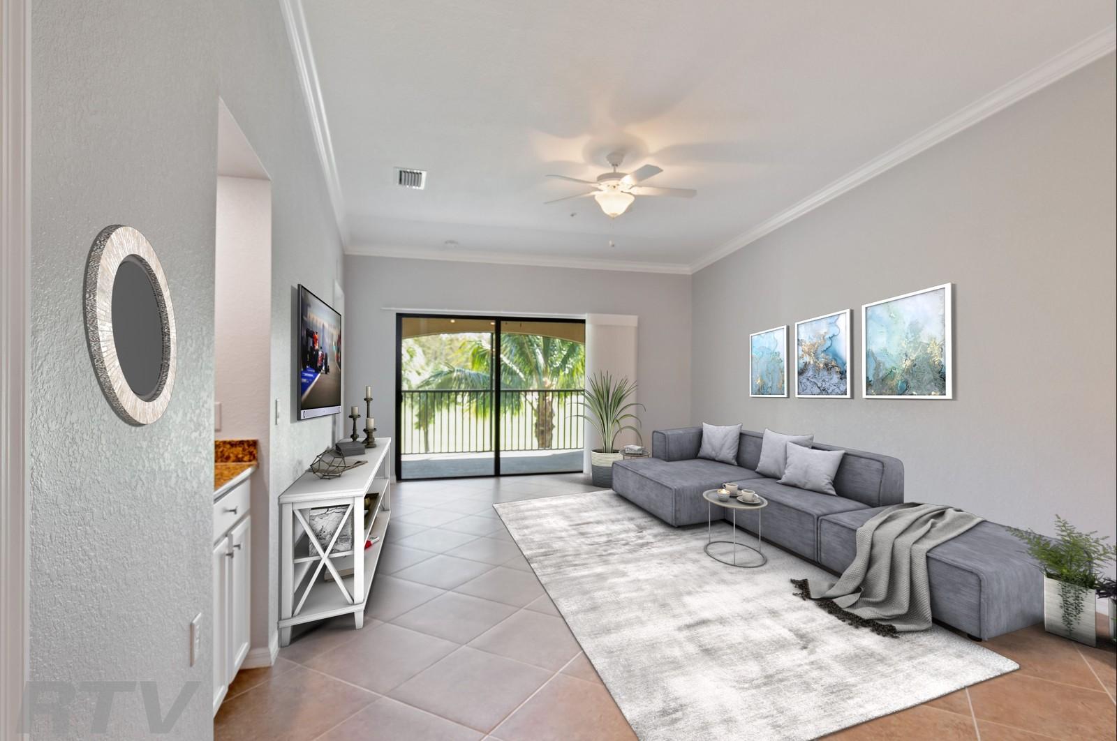 Real Estate Photography - 17980 Bonita National Blvd #1922, Bonita Springs, FL, 34135 - Living Room (Virtually Staged)
