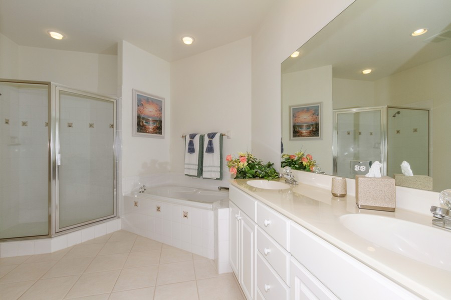 Real Estate Photography - 8447 Radcliffe Ter, Unit 203, Naples, FL, 34120 - Master Bathroom