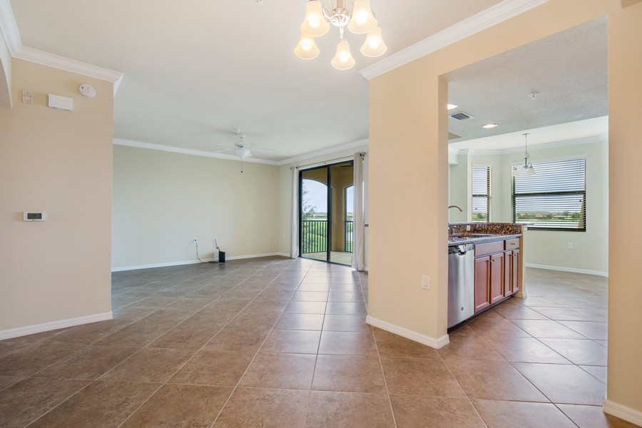 Real Estate Photography - 17941 BONITA NATIONAL BLVD. 323, BONITA SPRINGS, FL, 34135 - Kitchen / Living Room