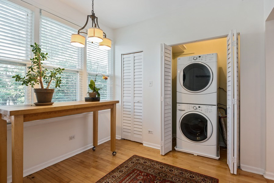 Real Estate Photography - 4822 N Winchester, 1N, Chicago, IL, 60625 - Main floor laundry