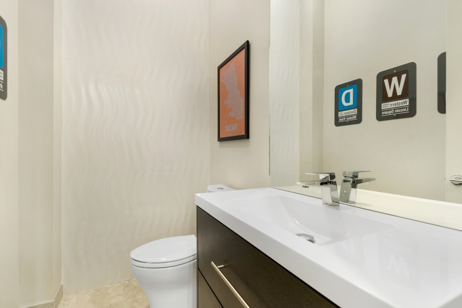 Real Estate Photography - 1113 N Ashland Ave, Unit 3, Chicago, IL, 60622 - Main floor powder room