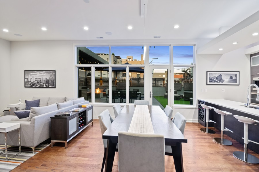 Real Estate Photography - 1113 N Ashland Ave, Unit 3, Chicago, IL, 60622 - Dining area at dusk