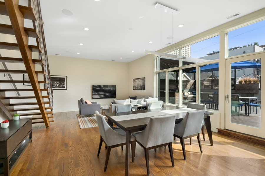 Real Estate Photography - 1113 N Ashland Ave, Unit 3, Chicago, IL, 60622 - Living / Dining morning light