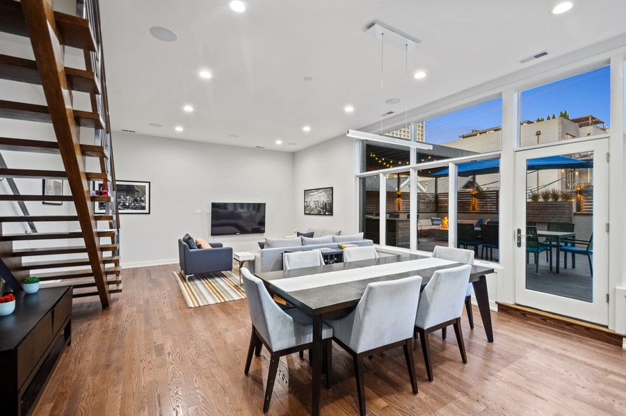 Real Estate Photography - 1113 N Ashland Ave, Unit 3, Chicago, IL, 60622 - Living / dining at dusk