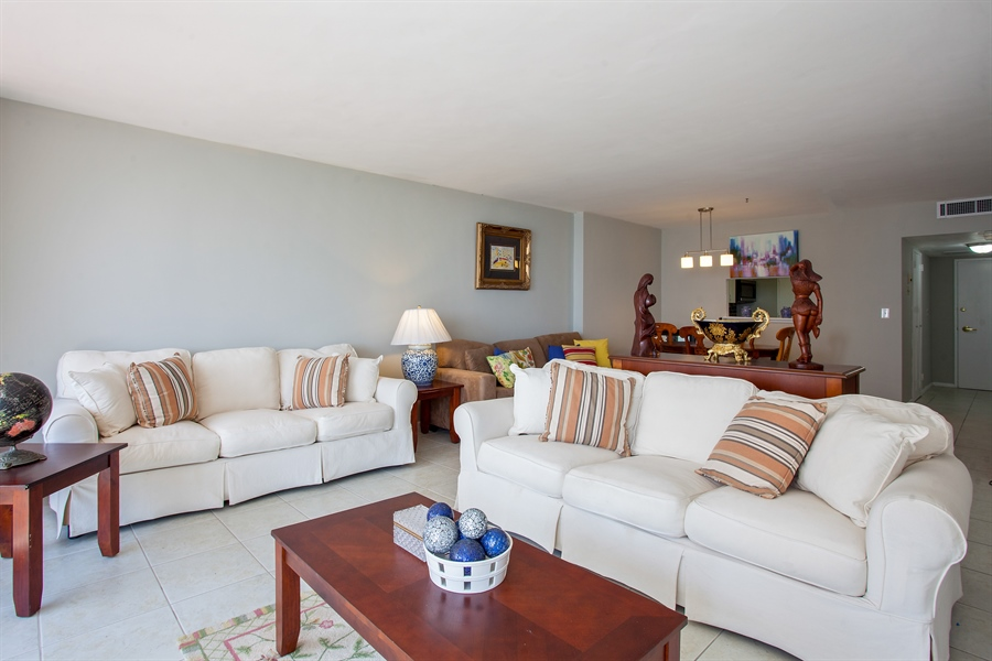 Real Estate Photography - 5700 Collins Ave, 15M, Miami Beach, FL, 33140 - Living Room