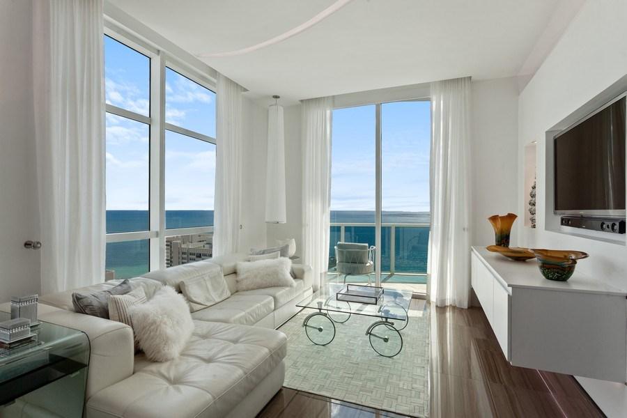 Real Estate Photography - 1945 S Ocean Drive, Unit 2812, Hallandale Beach, FL, 33009 - Living Room