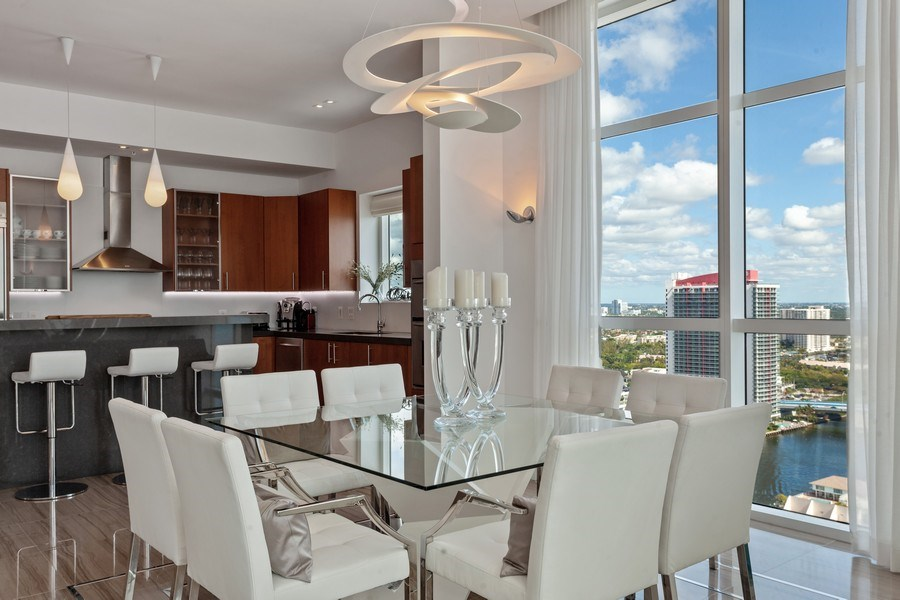 Real Estate Photography - 1945 S Ocean Drive, Unit 2812, Hallandale Beach, FL, 33009 - Dining Room