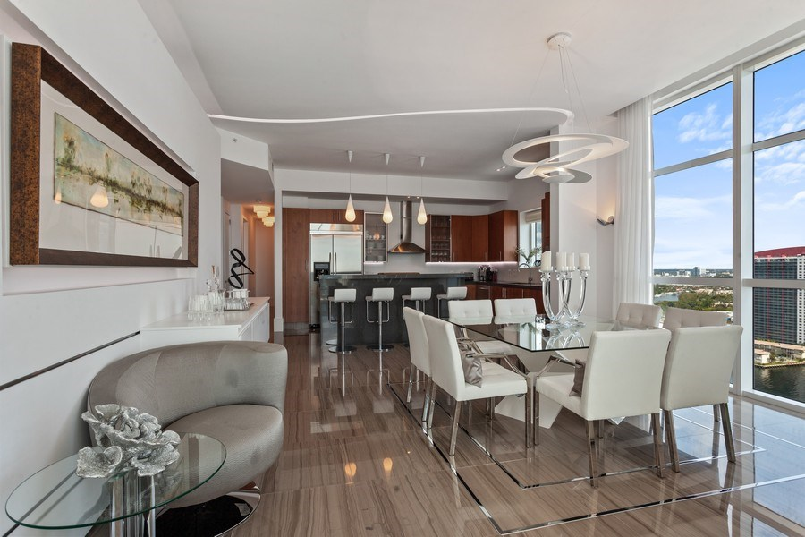 Real Estate Photography - 1945 S Ocean Drive, Unit 2812, Hallandale Beach, FL, 33009 - Kitchen / Dining Room