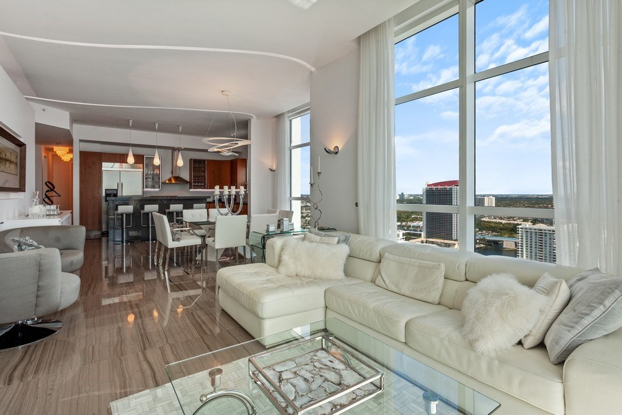 Real Estate Photography - 1945 S Ocean Drive, Unit 2812, Hallandale Beach, FL, 33009 - Living Room / Dining Room