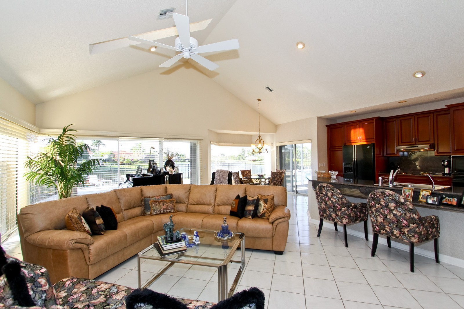 Real Estate Photography - 17799 Heather Ridge, Boca Raton, FL, 33498 - Family Room / Kitchen