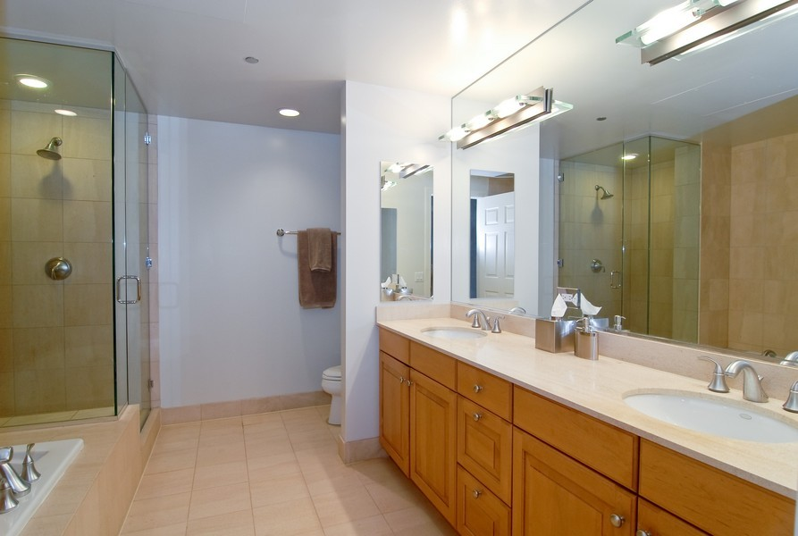 Real Estate Photography - 333 N Canal, Unit 3604, Chicago, IL, 60606 - Master Bathroom