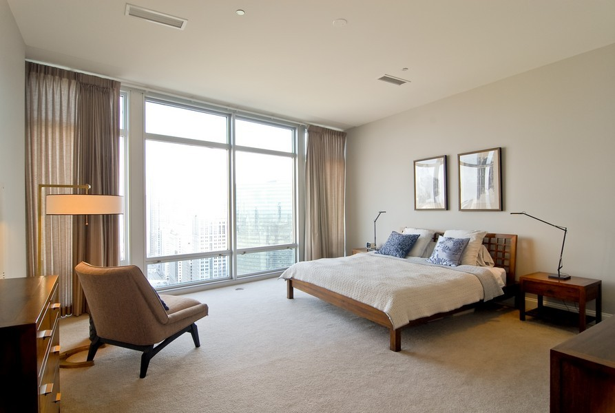 Real Estate Photography - 333 N Canal, Unit 3604, Chicago, IL, 60606 - Master Bedroom