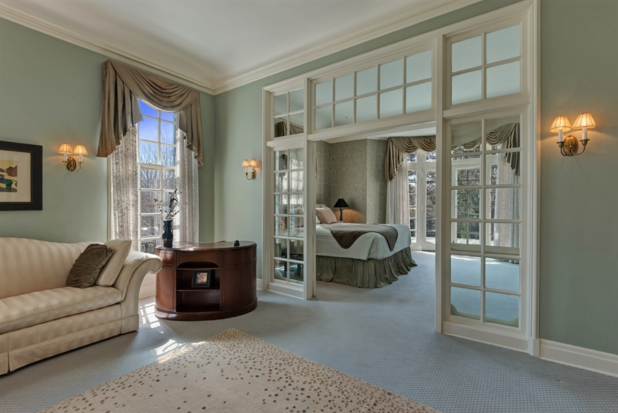 Real Estate Photography - 89 E Deerpath, Lake Forest, IL, 60045 - Sitting Room Opens to Bedroom via French Doors