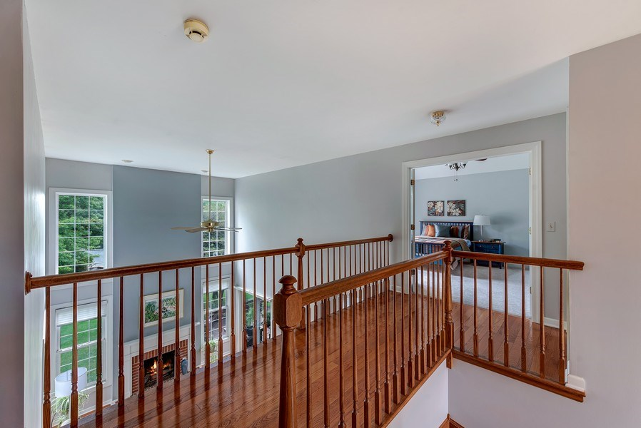 Real Estate Photography - 2126 Chandler Ln, Glenview, IL, 60026 - 2nd Floor Corridor, view into Master/FamilyRoom/Fo