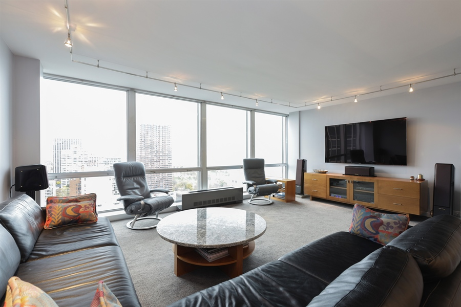 Real Estate Photography - 330 W Diversey, Apt 2308-2309, Chicago, IL, 60657 - Living Room