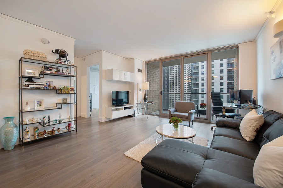 Real Estate Photography - 420 E Waterside Dr, 1502, Chicago, IL, 60601 - Living Room