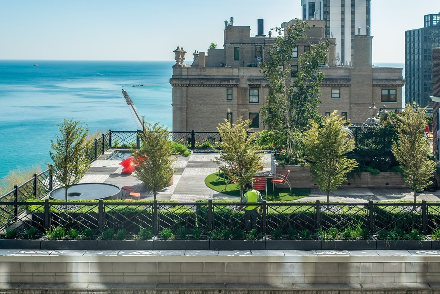 Real Estate Photography - 179 East Lake Shore Drive, Apartment 22E, Chicago, IL, 60611 - Summer View of Neighboring Terrace