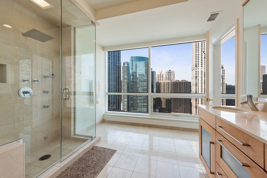 Real Estate Photography - 415 E North Water St, Unit 2803, Chicago, IL, 60611 - Master Bathroom