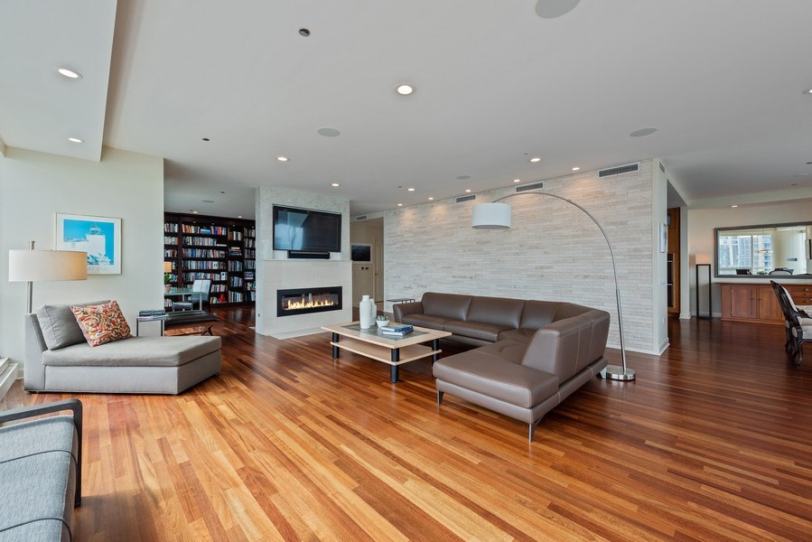 Real Estate Photography - 415 E North Water St, Unit 2803, Chicago, IL, 60611 - Living Room