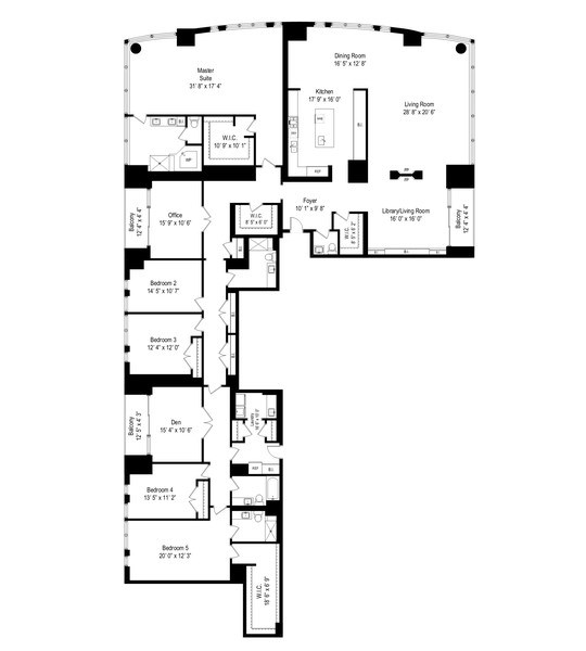 Real Estate Photography - 415 E North Water St, Unit 2803, Chicago, IL, 60611 - Floor Plan