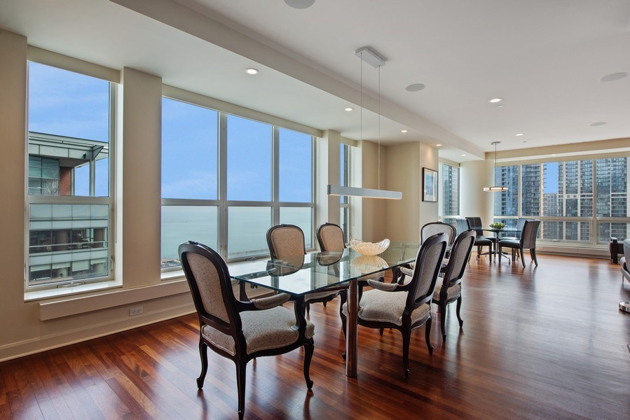 Real Estate Photography - 415 E North Water St, Unit 2803, Chicago, IL, 60611 - Living Room / Dining Room
