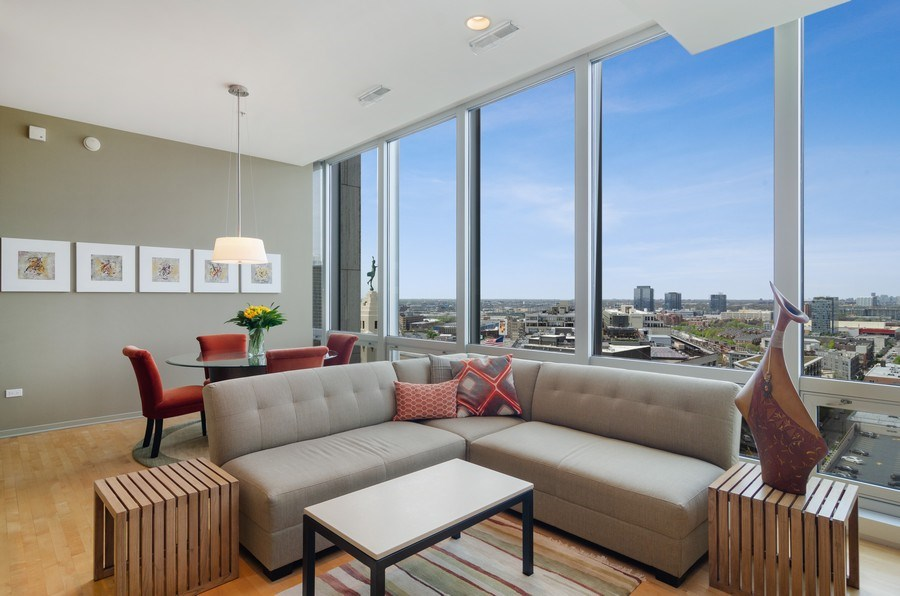 Real Estate Photography - 500 W Superior Street, 1402, Chicago, IL, 60654 - Living Room