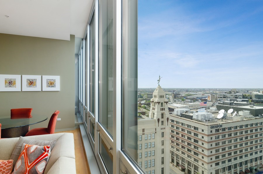 Real Estate Photography - 500 W Superior Street, 1402, Chicago, IL, 60654 - View West from Living Room WIndow