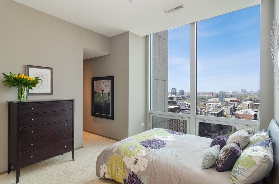 Real Estate Photography - 500 W Superior Street, 1402, Chicago, IL, 60654 - Master Bedroom