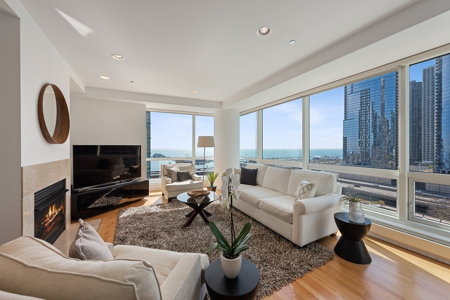 Real Estate Photography - 415 E North Water Street, 1303, CHicago, IL, 60611 - Living Room