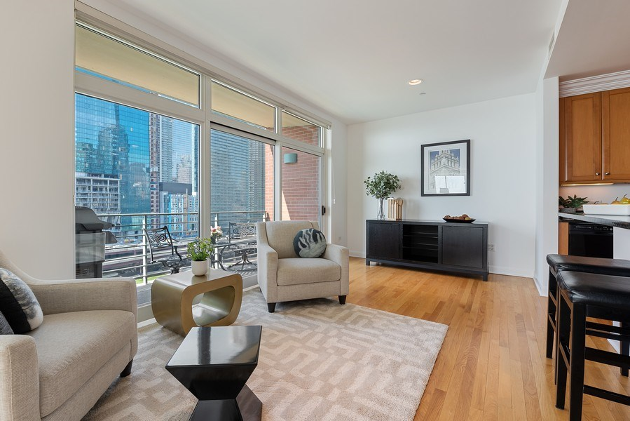 Real Estate Photography - 415 E North Water Street, 1303, CHicago, IL, 60611 - Family Room