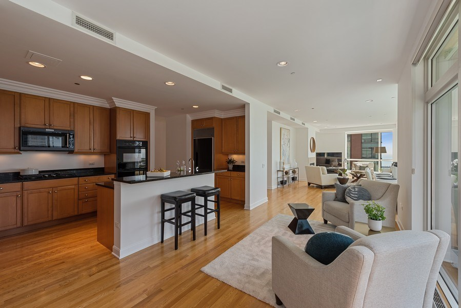 Real Estate Photography - 415 E North Water Street, 1303, CHicago, IL, 60611 - Family Room / Kitchen