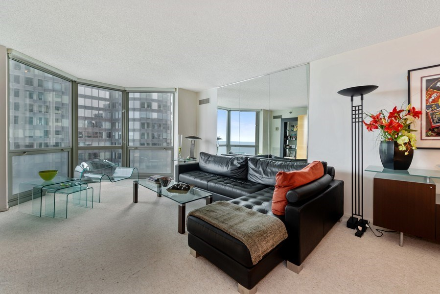 Real Estate Photography - 195 N Harbor Dr, Unit 3505, Chicago, IL, 60601 - Living Room
