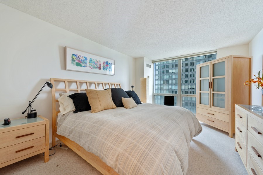 Real Estate Photography - 195 N Harbor Dr, Unit 3505, Chicago, IL, 60601 - Bedroom