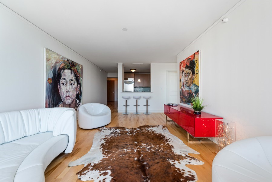 Real Estate Photography - 225 N Columbus Ave, Unit 7807, Chicago, IL, 60601 - Living Room