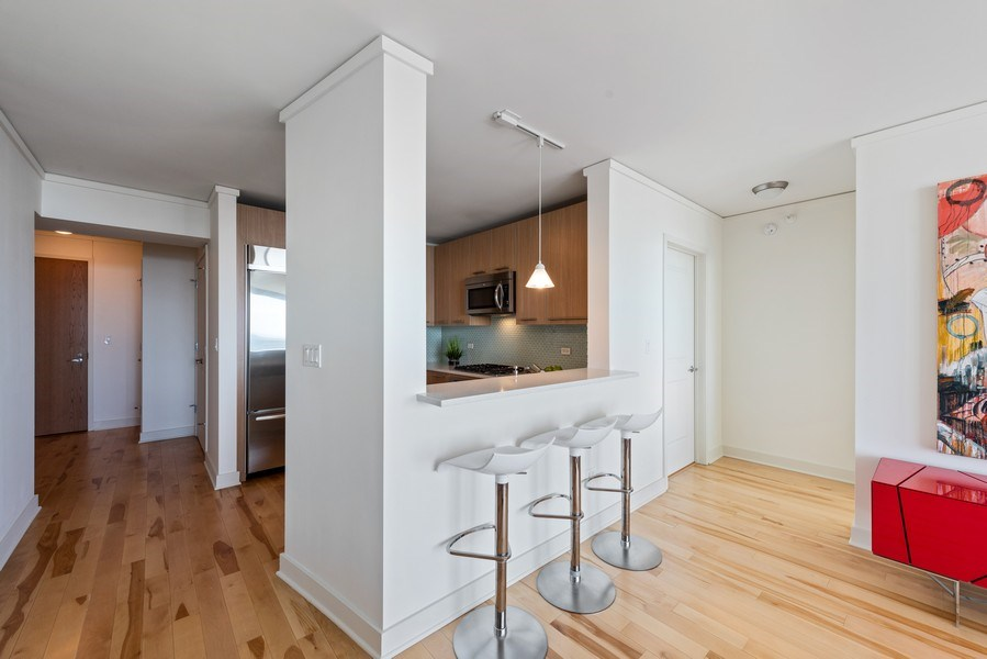 Real Estate Photography - 225 N Columbus Ave, Unit 7807, Chicago, IL, 60601 - Kitchen