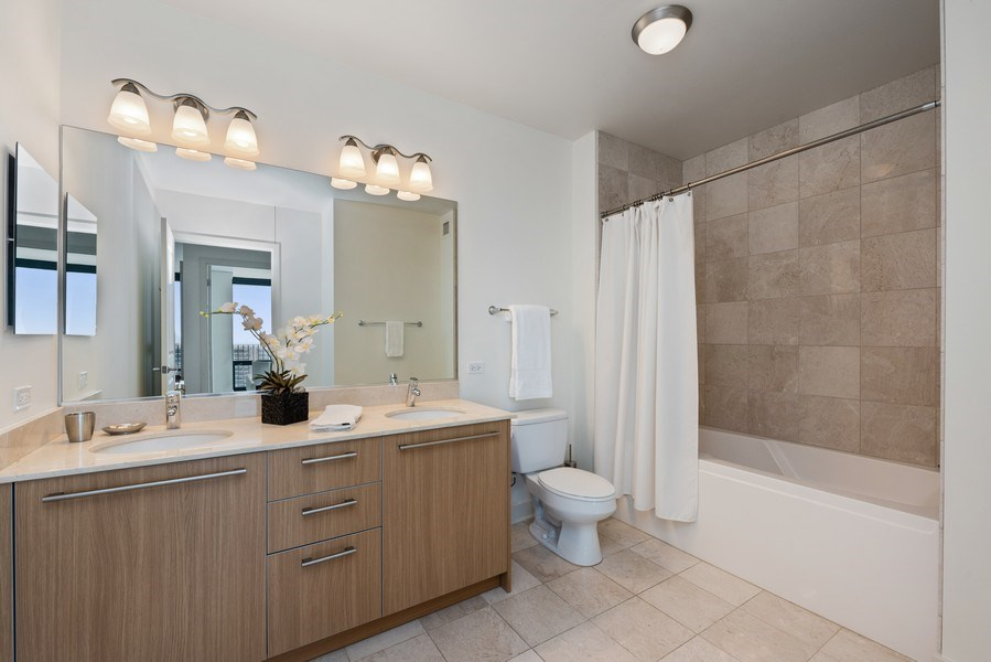 Real Estate Photography - 225 N Columbus Ave, Unit 7807, Chicago, IL, 60601 - Bathroom