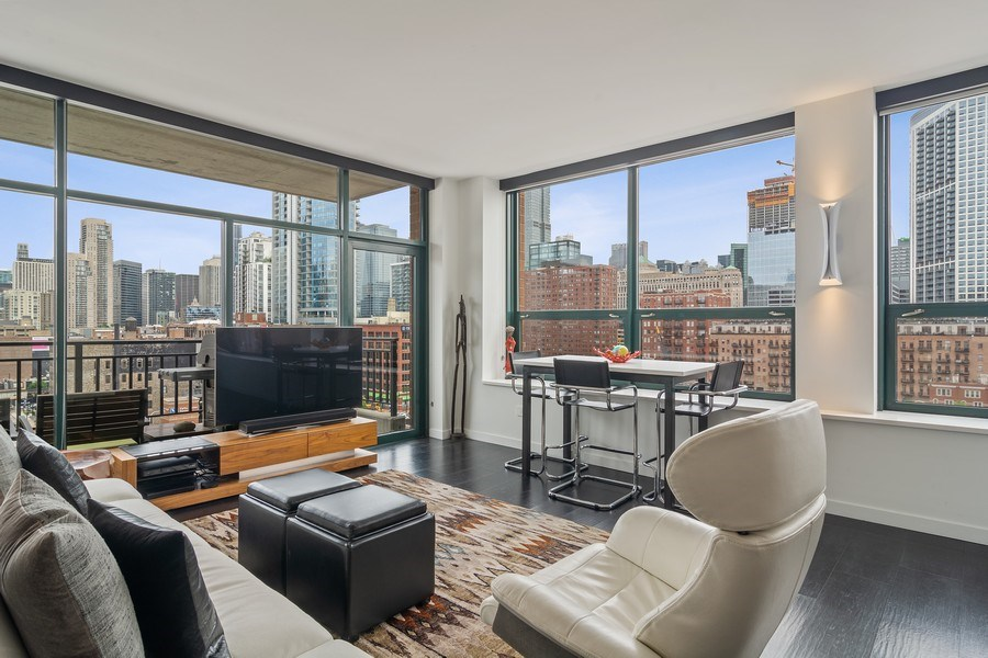Real Estate Photography - 400 West Ontario, Unit 905, Chicago, IL, 60654 - Living Room