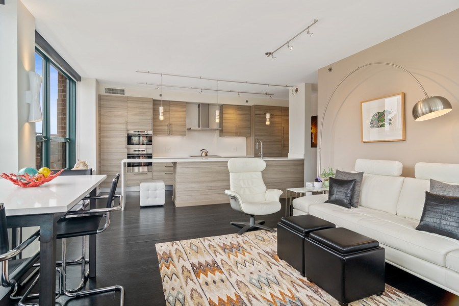 Real Estate Photography - 400 West Ontario, Unit 905, Chicago, IL, 60654 - Living Room/Dining Room