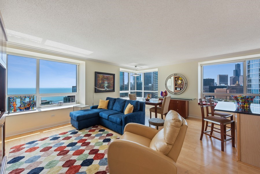Real Estate Photography - 512 N MCclurg Ct, 3807-08, Chicago, IL, 60611 - Living Room