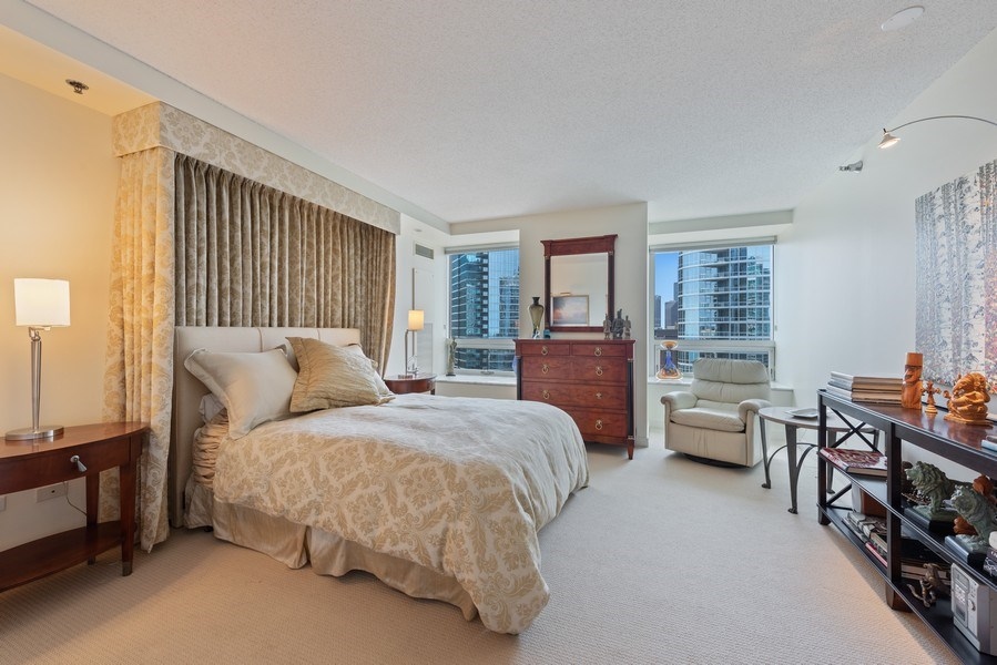 Real Estate Photography - 512 N MCclurg Ct, 3807-08, Chicago, IL, 60611 - Master Bedroom