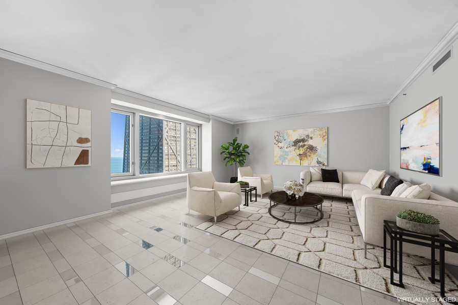 Real Estate Photography - 132 E Delaware Pl, Apt 5004, Chicago, IL, 60611 - Living Room