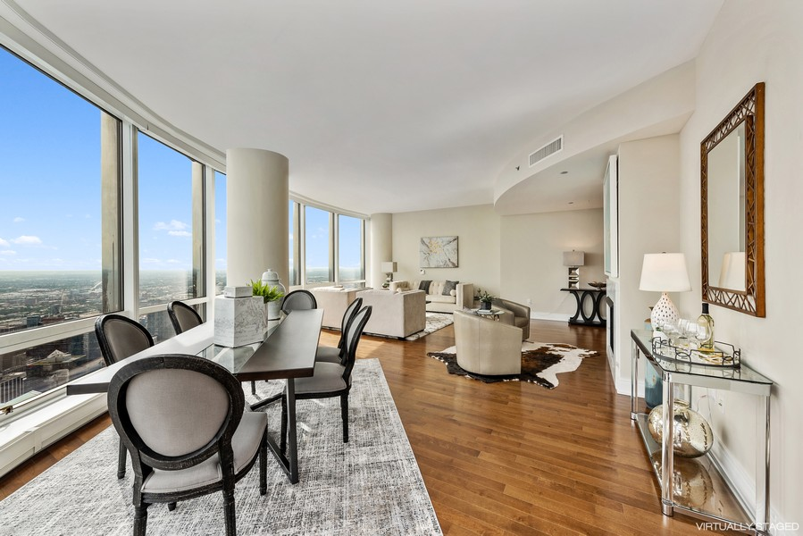 Real Estate Photography - 401 N Wabash Avenue, 83D, Chicago, IL, 60611 - Living Room / Dining Room