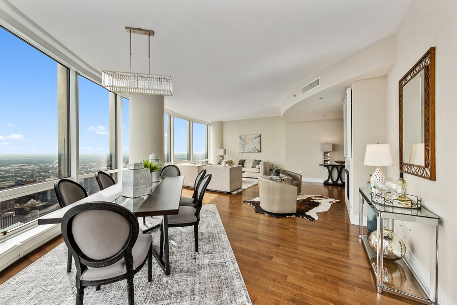Real Estate Photography - 401 N Wabash Avenue, 83D, Chicago, IL, 60611 - Living Room/Dining Room