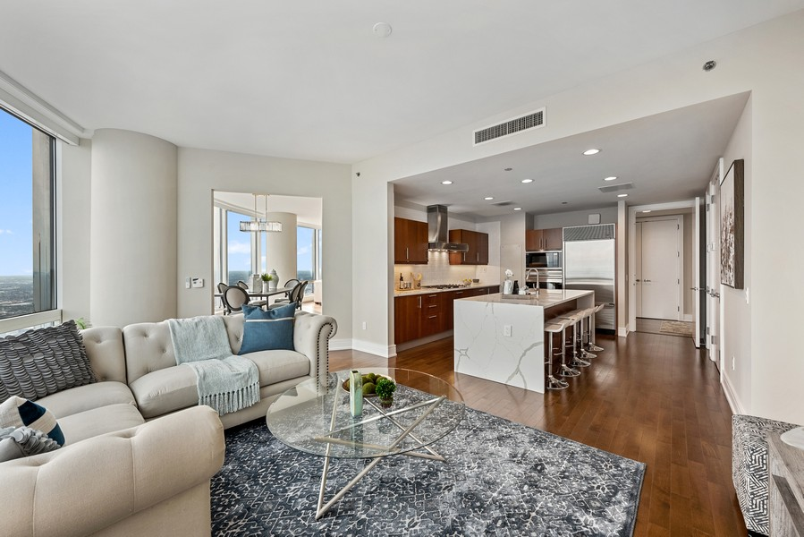 Real Estate Photography - 401 N Wabash Avenue, 83D, Chicago, IL, 60611 - Family Room / Kitchen