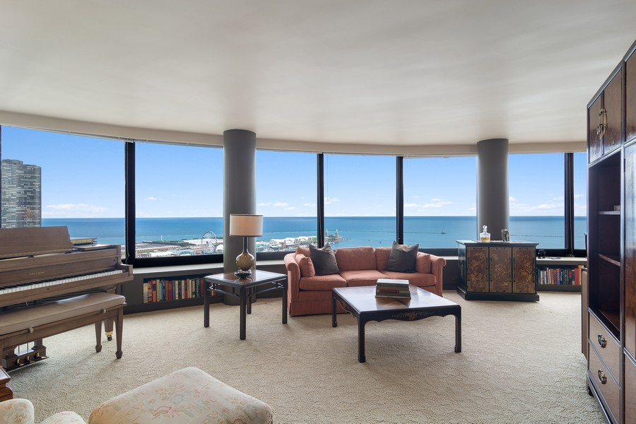 Real Estate Photography - 155 North Harbor Drive, Unit 3508, Chicago, IL, 60601 - Living Room