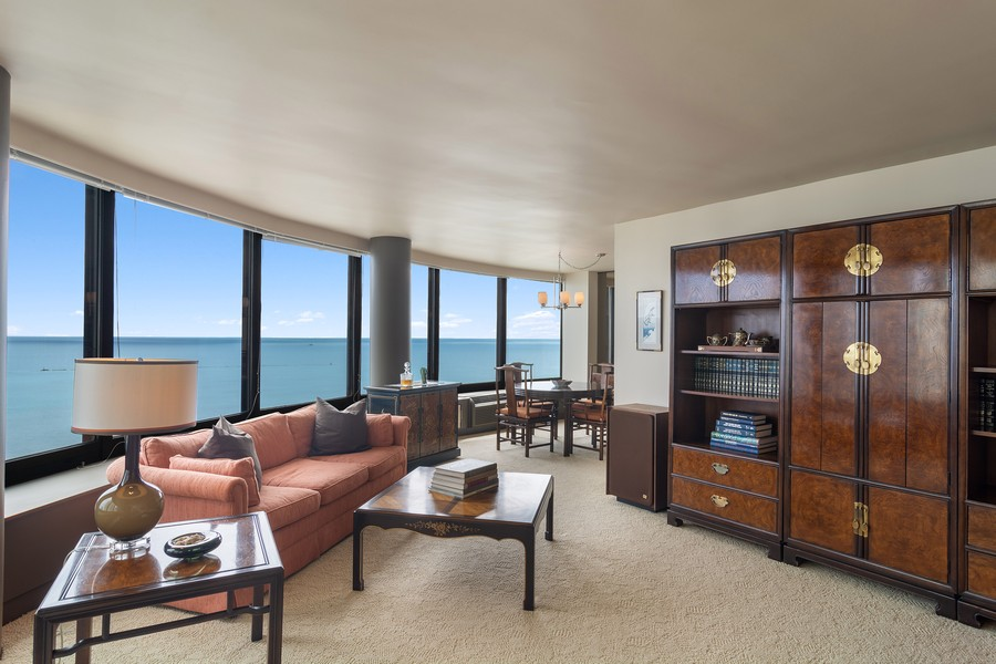 Real Estate Photography - 155 North Harbor Drive, Unit 3508, Chicago, IL, 60601 - Living Room / Dining Room