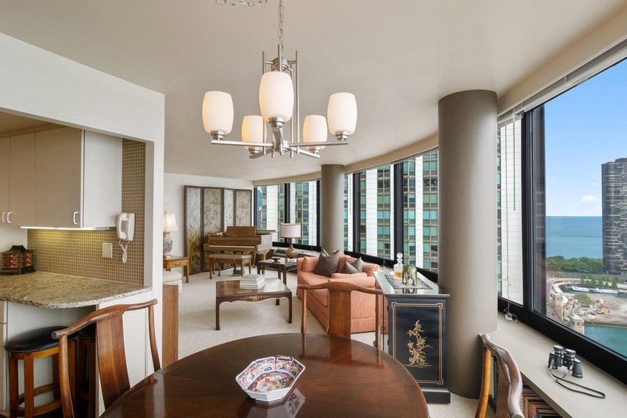 Real Estate Photography - 155 North Harbor Drive, Unit 3508, Chicago, IL, 60601 - Living Room/Dining Room