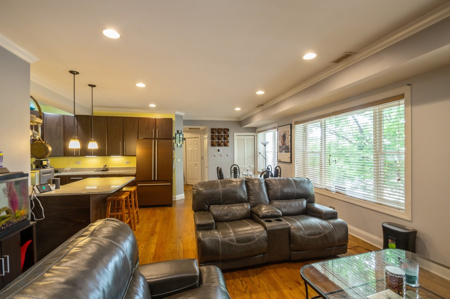 Real Estate Photography - 5300 N Kedzie, #1, Chicago, IL, 60625 - Kitchen / Living Room