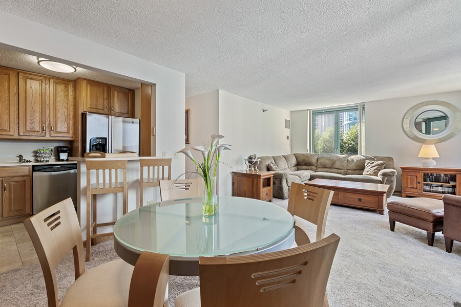 Real Estate Photography - 480 N McClurg Ct, 820, Chicago, IL, 60611 - Dining Room/Living Room