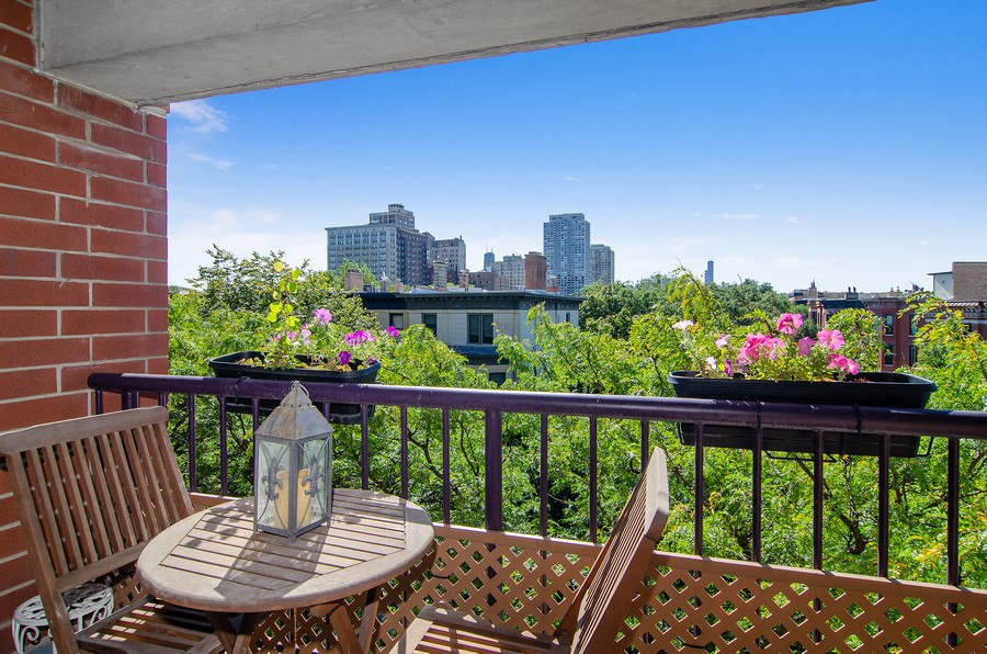 Real Estate Photography - 350 W Belden, Unit 406, Chicago, IL, 60614 - Balcony